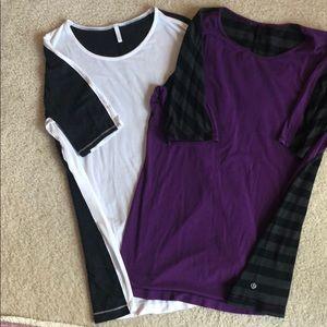 Lot of 2 lululemon shirt sleeve shirts.